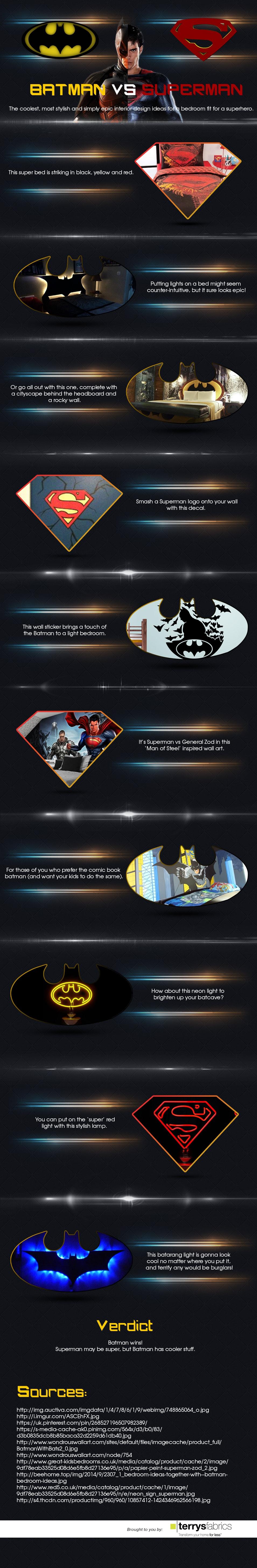 Battle of the Bedrooms: Batman vs. Superman [Infographic]
