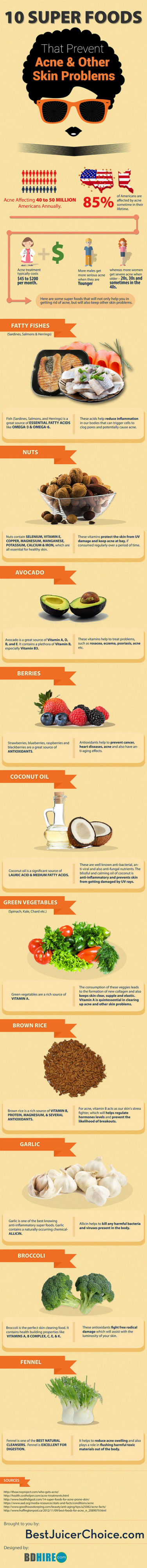 10 Super Foods That Prevent Acne & Other Skin Problems [Infographic]