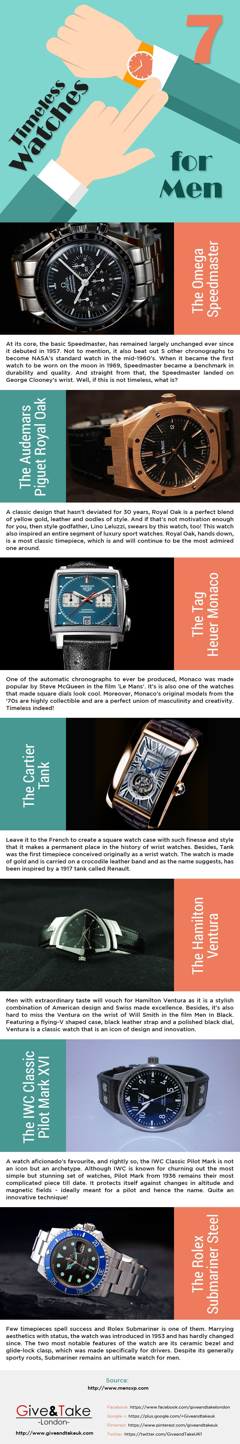7 Timeless Watches for Men [Infographic]