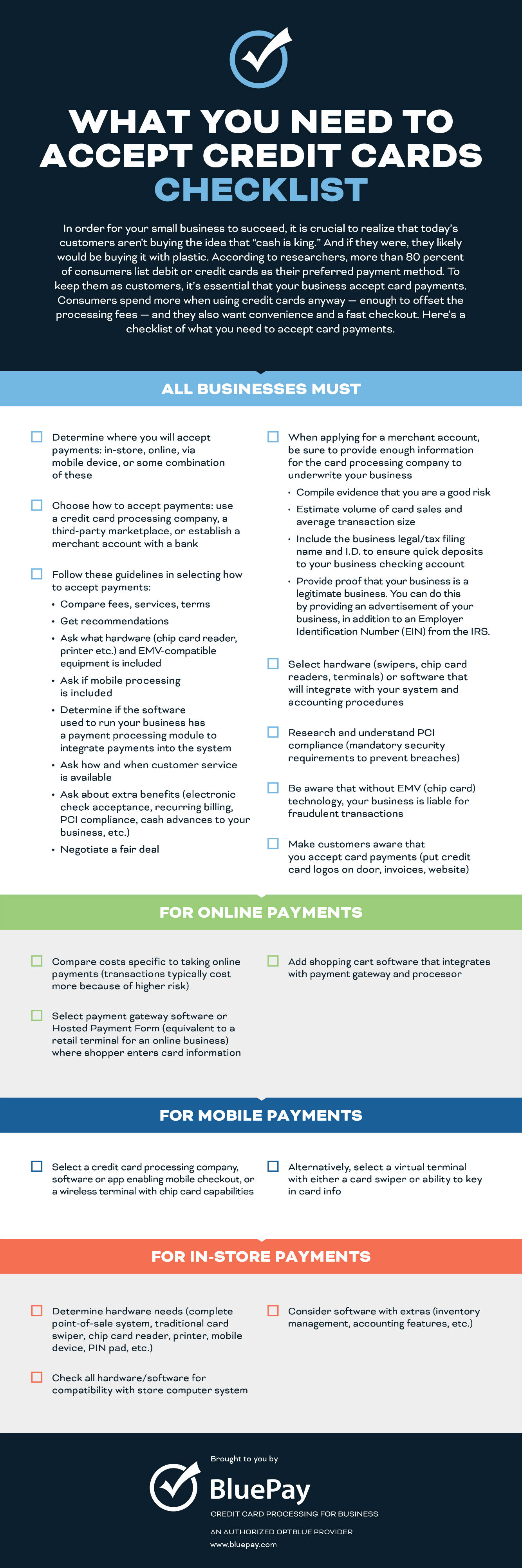 What You Need To Accept Credit Cards Checklist [Infographic]