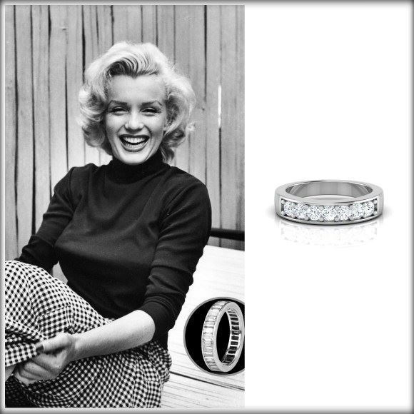 Marilyn Monroe Baguette Ring Diamond-Platinum Band Caratlan