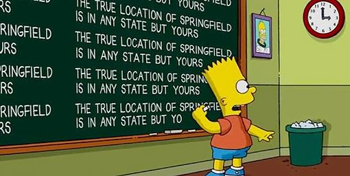 Filmed Locations of Fictional Places [Infographic]: Bart Simpson Chalkboard