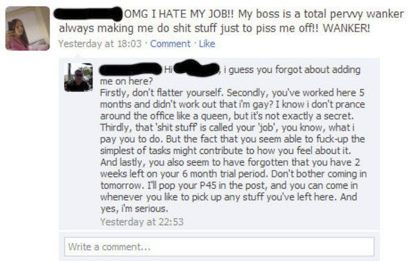 Sharing Your Work Life Facebook: Boss Fires Employee on Facebook