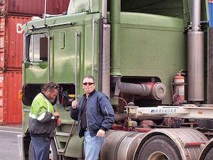 DOT Inspector Inspecting Trucker