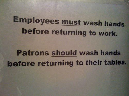 Employees Patrons Wash Hands