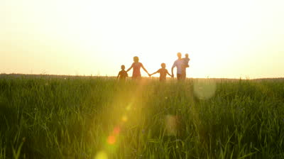 How to Deal With Your Problems: Happy Young Family with Children Running Around the Field
