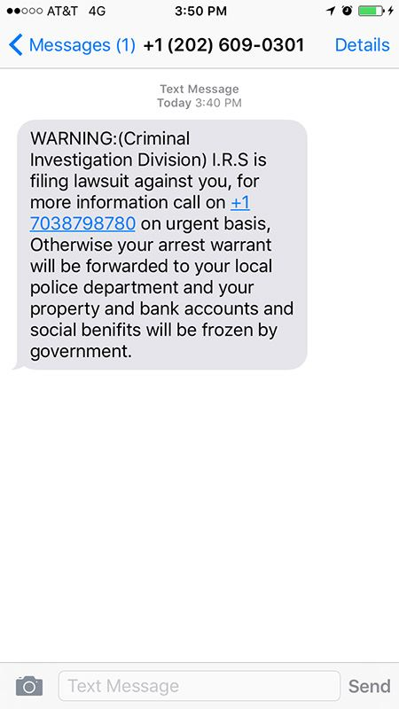 IRS Text Message Scam