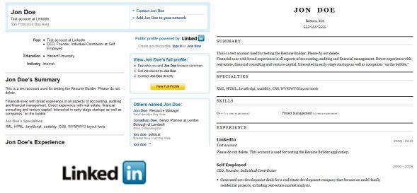 Linkedin Profile Resume