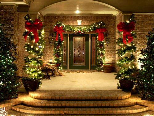 Outdoor Christmas Decorating Front Porch Ideas Entrance