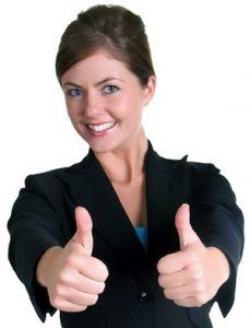 Simple Ways To Keep Your Customers Happy: Presentable Business Woman with Two Thumbs Up