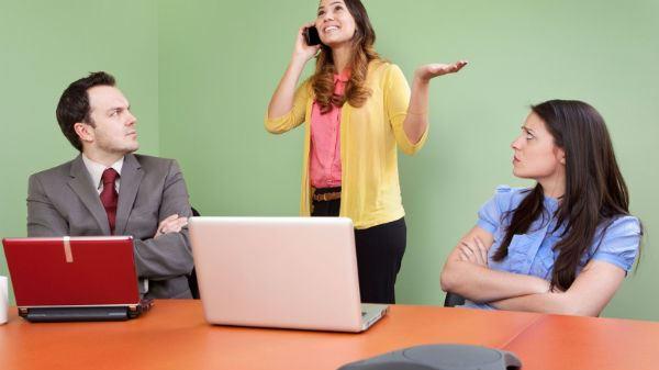 Rude Colleague Disturbing Meeting Talking Smartphone Rudeness Coworkers Upset Mad Impatience