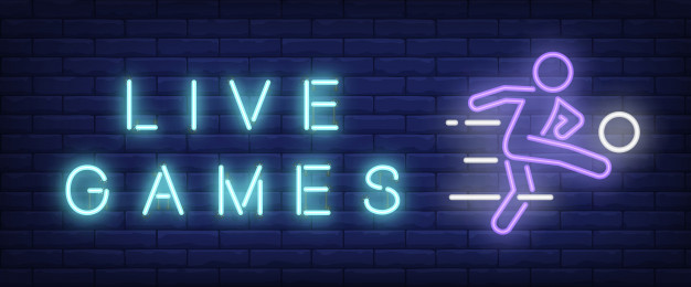 Live games neon text with football player kicking ball Free Vector