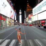Ashlee Monague dancing nearly naked in New York City.